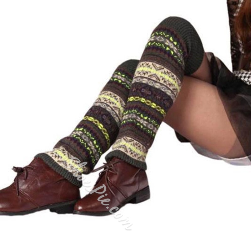 Stylish Polyester Color Block Leg Warmers