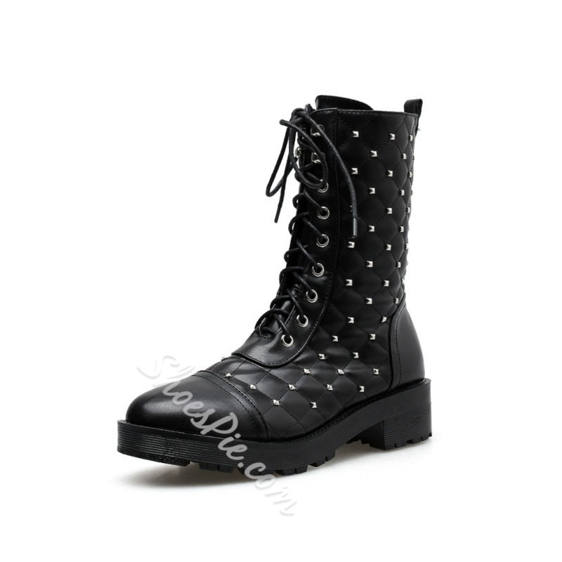 Shoespie Stylish Black Rivet Round Toe Block Heel Western Boots
