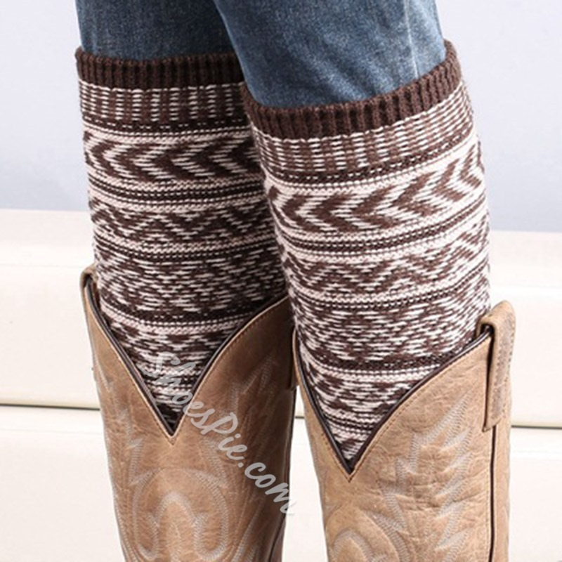 Bohemian style Knitted Winter Leg Warmers