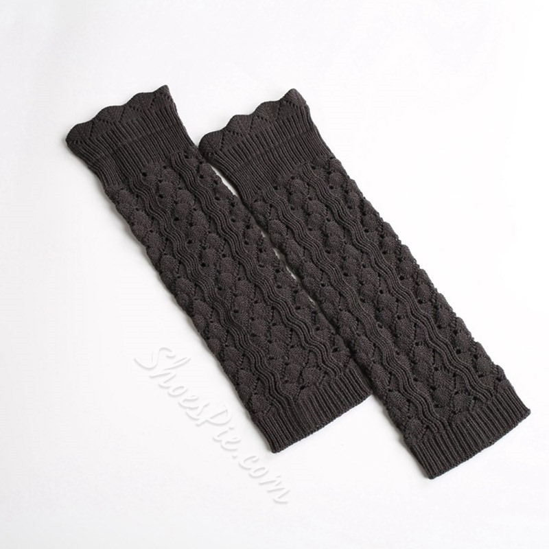 Acrylic Knitted Plain Winter Leg Warmers