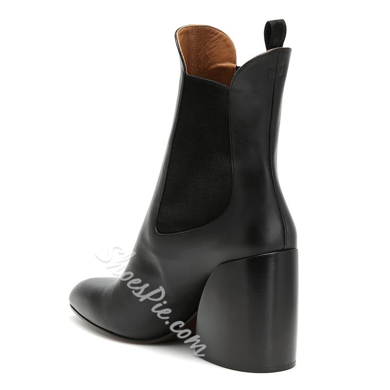 Shoespie Trendy Slip-On Pointed Toe Color Block Thread Boots