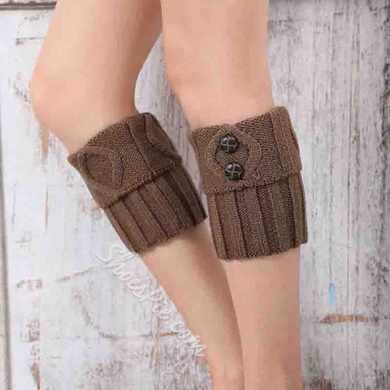 Wool Solid Color Button Casual Winter Leg Warmer