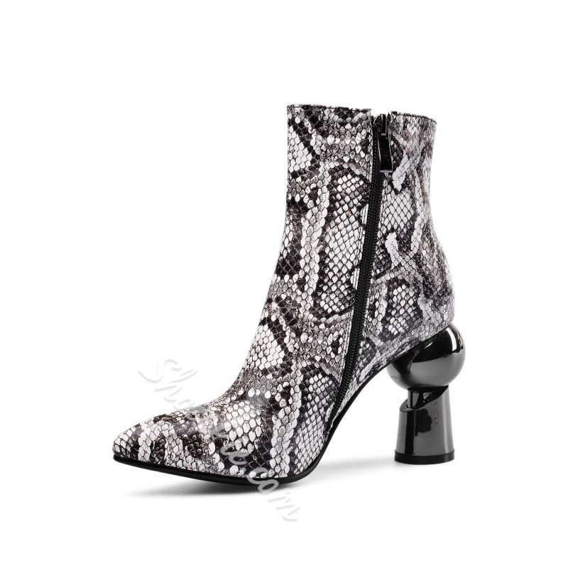Shoespie Stylish Side Zipper Color Block Pointed Toe Western Boots