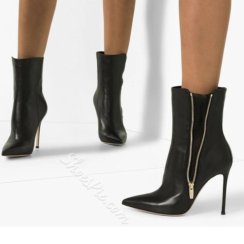 Shoespie Sexy Stiletto Heel Pointed Toe Plain PU Boots