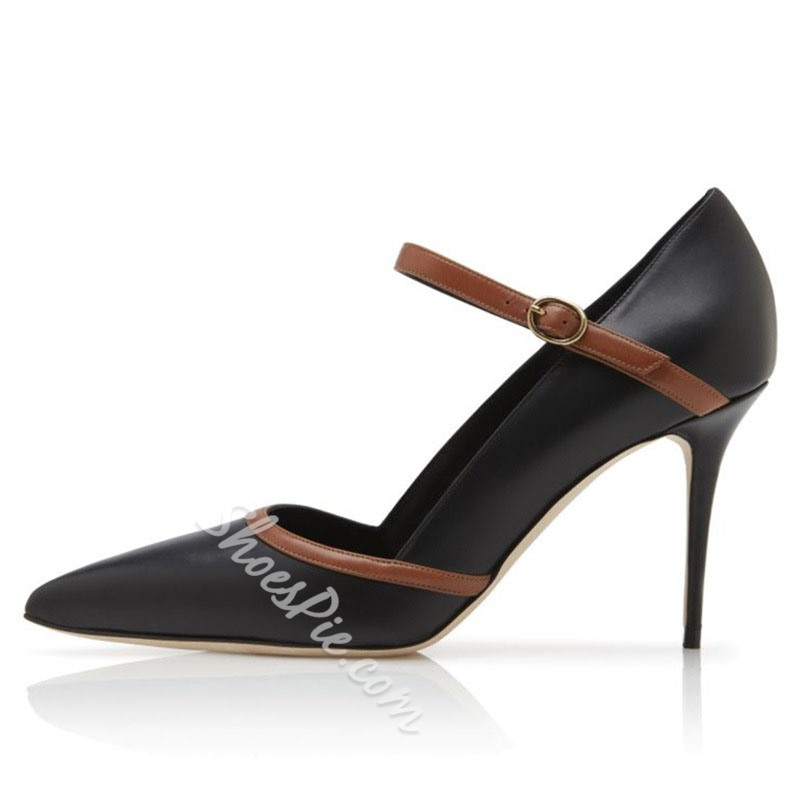 Shoespie Stylish Stiletto Heel Buckle Pointed Toe Patchwork Thin Shoes