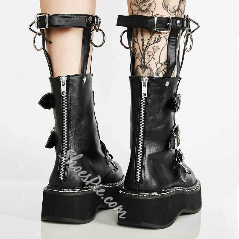 Shoespie Sexy Plain Round Toe Back Zip Western Boots