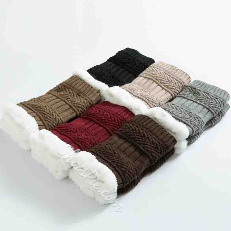 Thick Acrylic Color Block Winter Leg Warmer