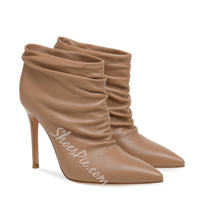 Shoespie Trendy Stiletto Heel Pointed Toe Slip-On Simple Boots