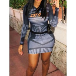 Long Sleeve Above Knee Bodycon Women's Dress