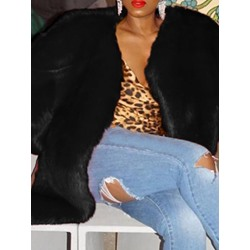 Mid-Length Plain Loose Women's Faux Fur Overcoat