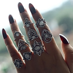 Alloy Gemmed Vintage Wedding Rings