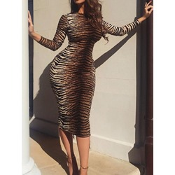 Long Sleeve Round Neck Mid-Calf Bodycon Women's Dress