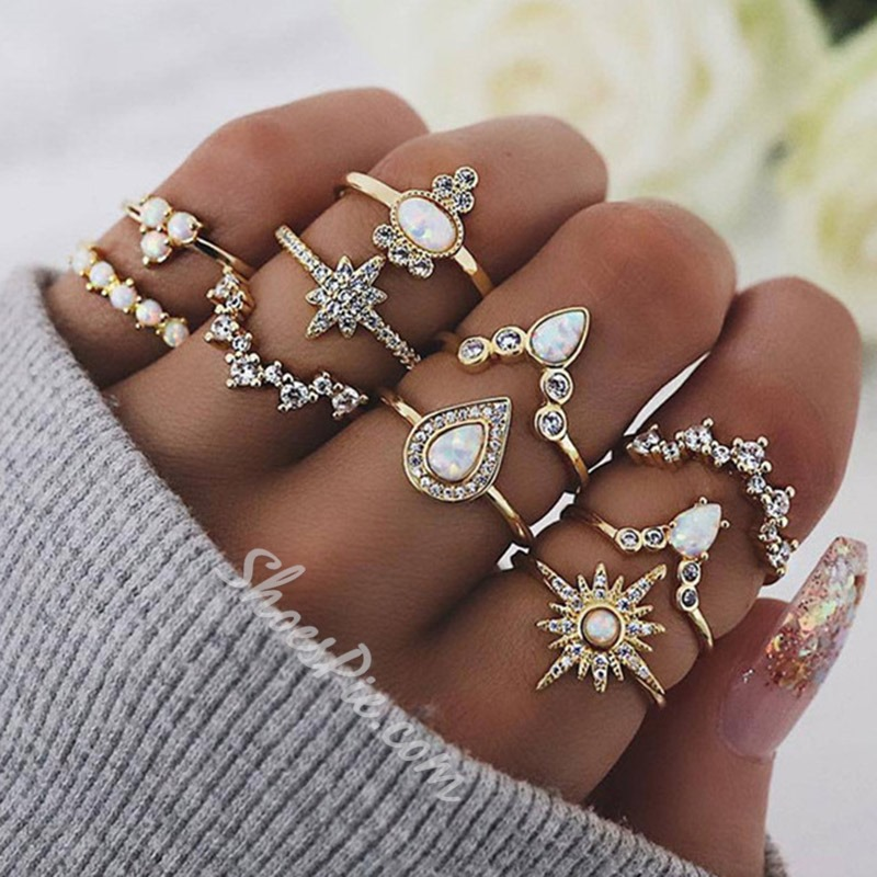 Romantic Diamante Alloy Holiday Rings