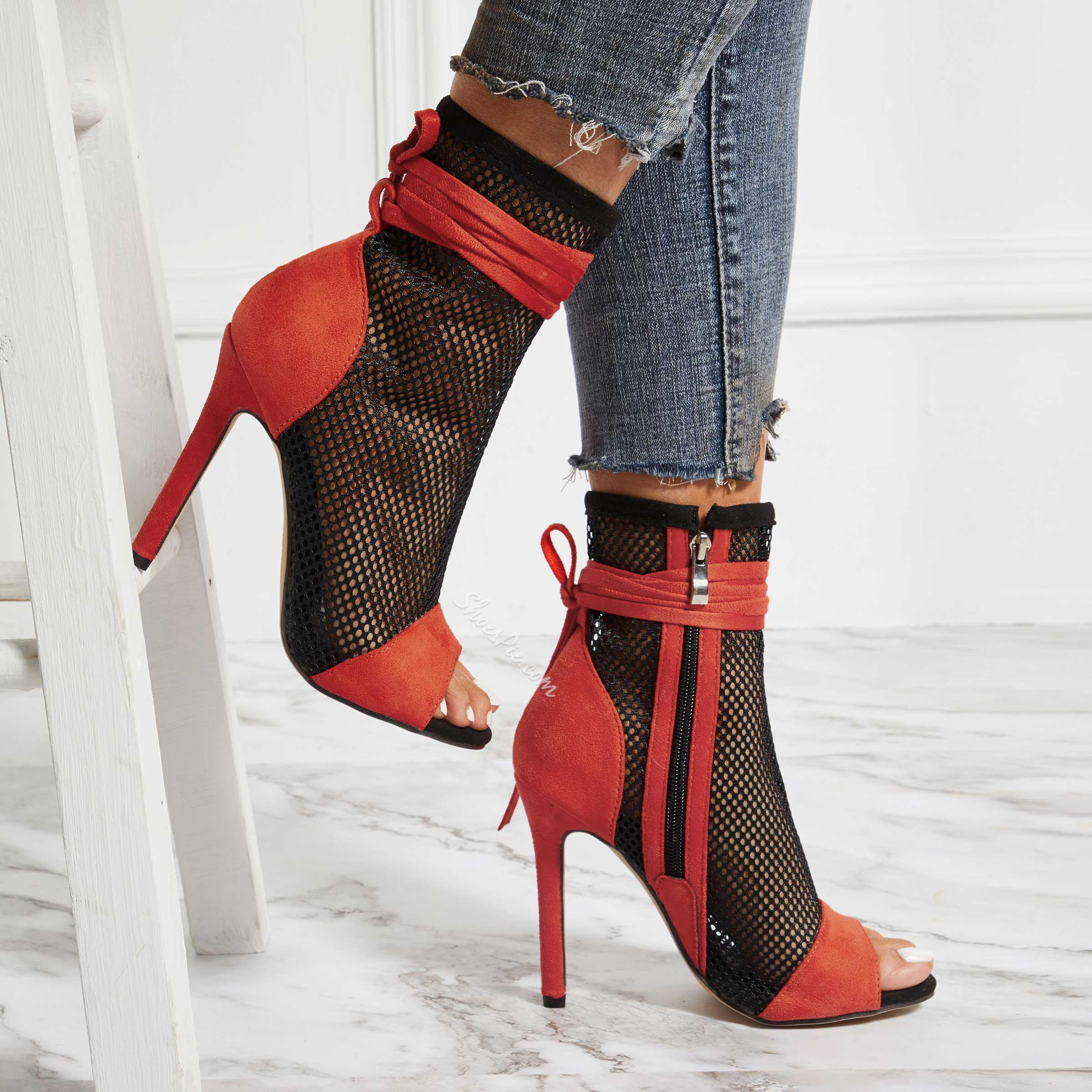 Shoespie Zipper Peep Toe Stiletto Heel Hollow Boots