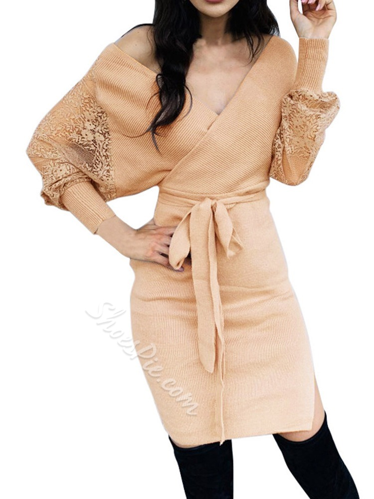 Long Sleeve V-Neck Lace Bodycon Women's Dress