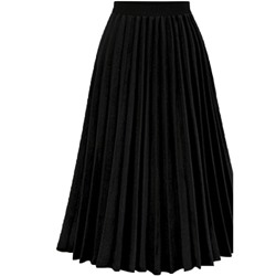 Plain Pleated Mid-Calf Women's Skirt