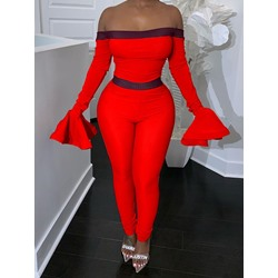 Off Shoulder Sexy Plain Full Length Skinny Women's Jumpsuit