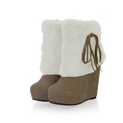 Shoespie Platform Fluffy Slip-On Ankle Snow Boots