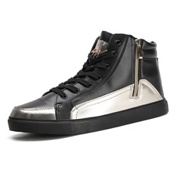 Shoespie Men's Zipper High-Cut Upper Color Block Round Toe Skate Shoes