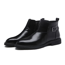 Shoespie Men's Round Toe Side Zipper Plain PU Boots