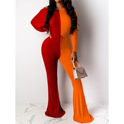 Full Length Color Block Skinny Women's Jumpsuit