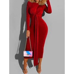 Long Sleeve Round Neck Lace-Up Plain Women's Dress