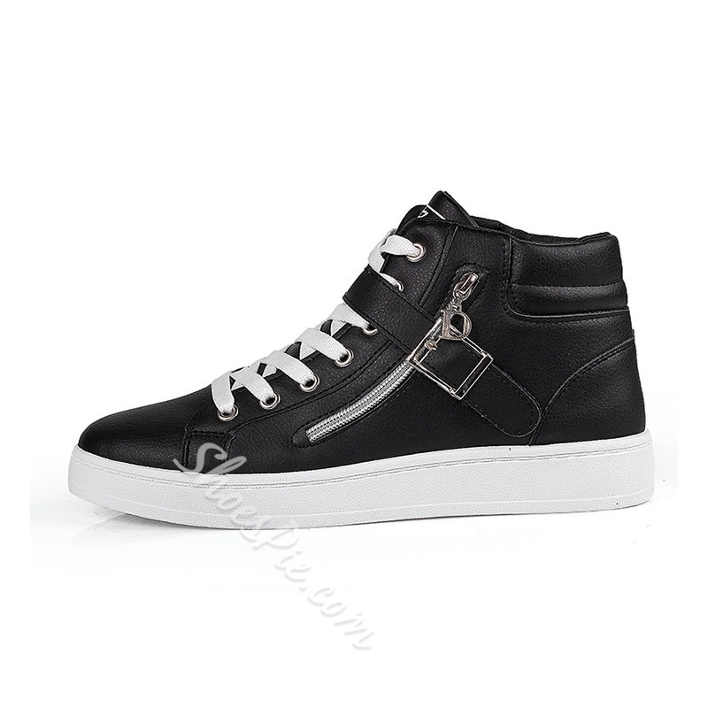 Shoespie Men's High-Cut Upper Color Block Lace-Up Round Toe Skate Shoes
