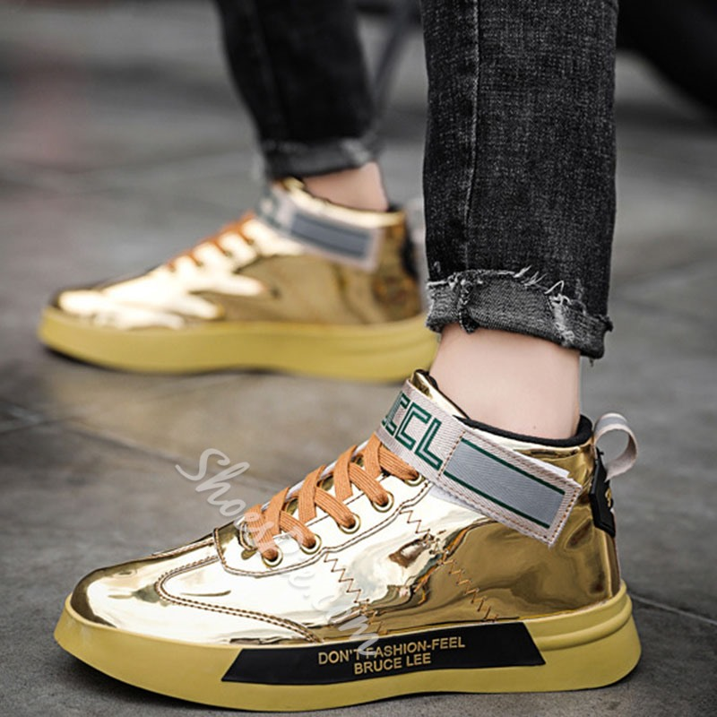 Shoespie Men's Patchwork Lace-Up Round Toe Casual Skate Shoes