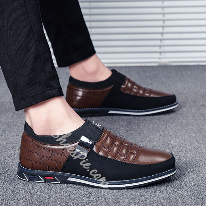 Shoespie Men's Patchwork Slip-On Low-Cut Upper Round Toe Thin Shoes