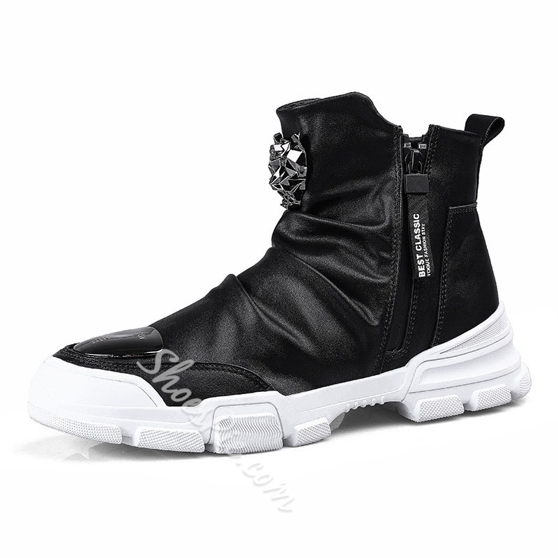 Shoespie Men's Sports Zipper High-Cut Upper PU Skate Shoes