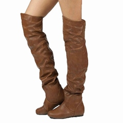 Shoespie Stylish Plain Round Toe Slip-On Western Casual Boots