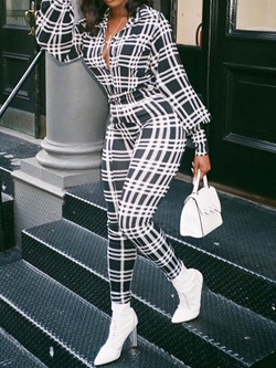 Plaid Full Length Straight Women's Jumpsuit
