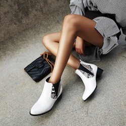 Shoespie Trendy Pointed Toe Slip-On Block Heel Casual Boots