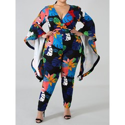 Plus Size Casual Plant Full Length High Waist Women's Jumpsuit