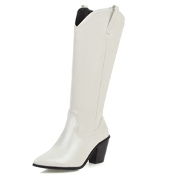 Shoespie Stylish Slip-On Plain Pointed Toe Thread Boots