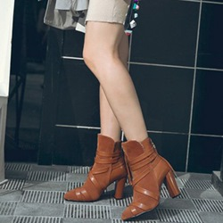 Shoespie Sexy Chunky Heel Back Zip Color Block Casual Boots