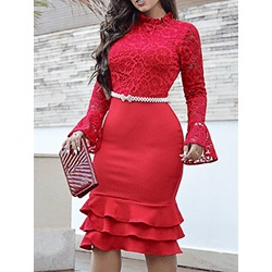 Lace Stand Collar Mid-Calf Flare Sleeve Women's Dress