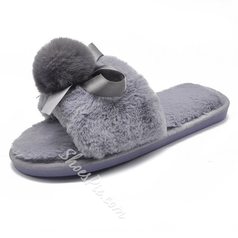 Shoespie Trendy Cross Slip-On Bow Indoor Slippers