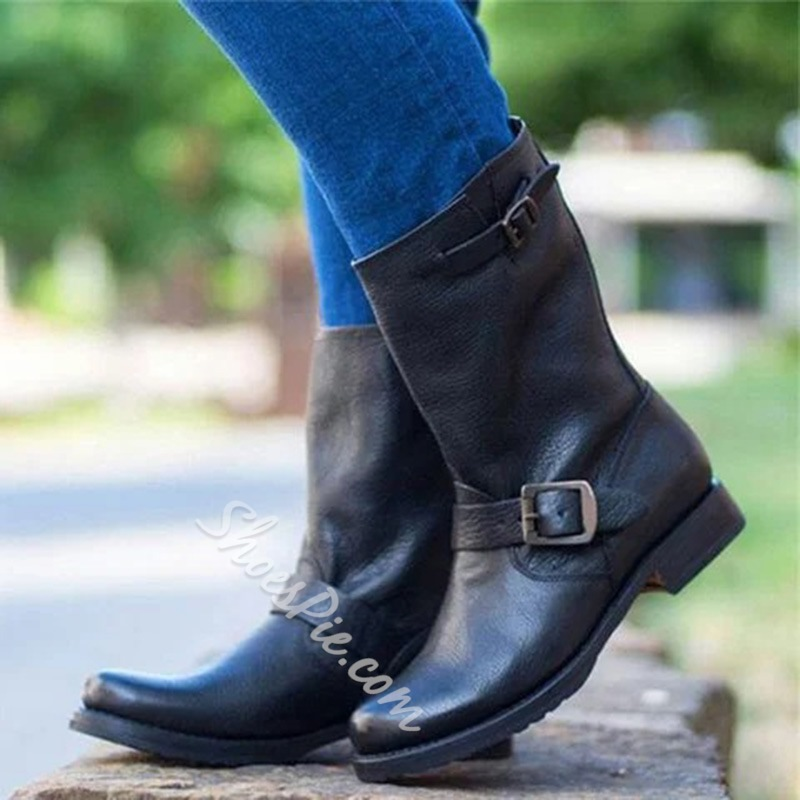 Shoespie Trendy Round Toe Slip-On Block Heel Western Boots