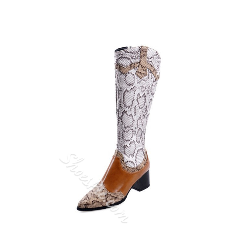 Shoespie Sexy Color Block Side Zipper Pointed Toe Western Boots