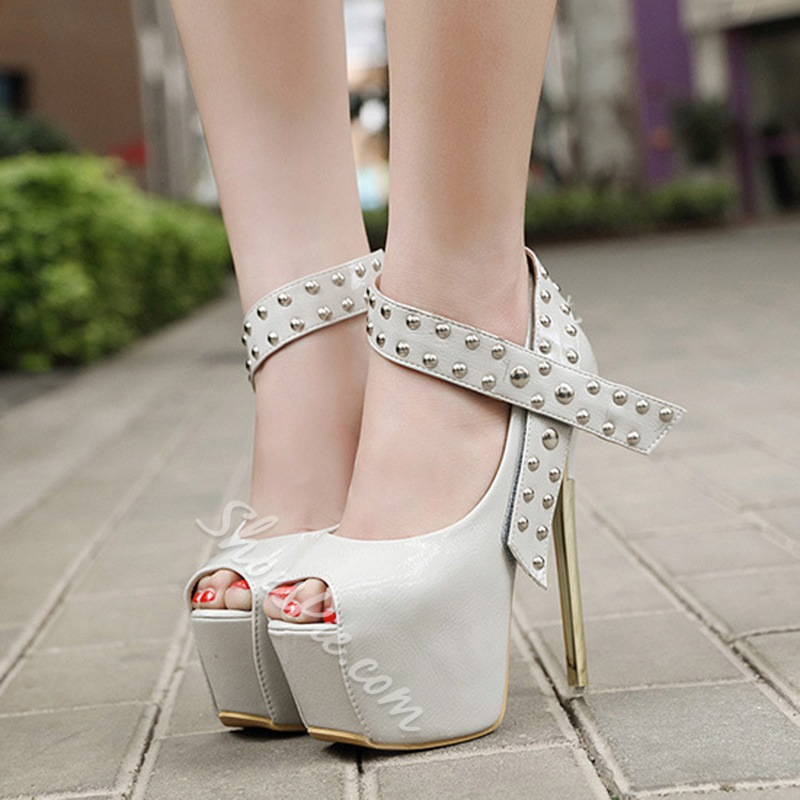 Shoespie Stylish Peep Toe Stiletto Heel Velcro Casual Thin Shoes