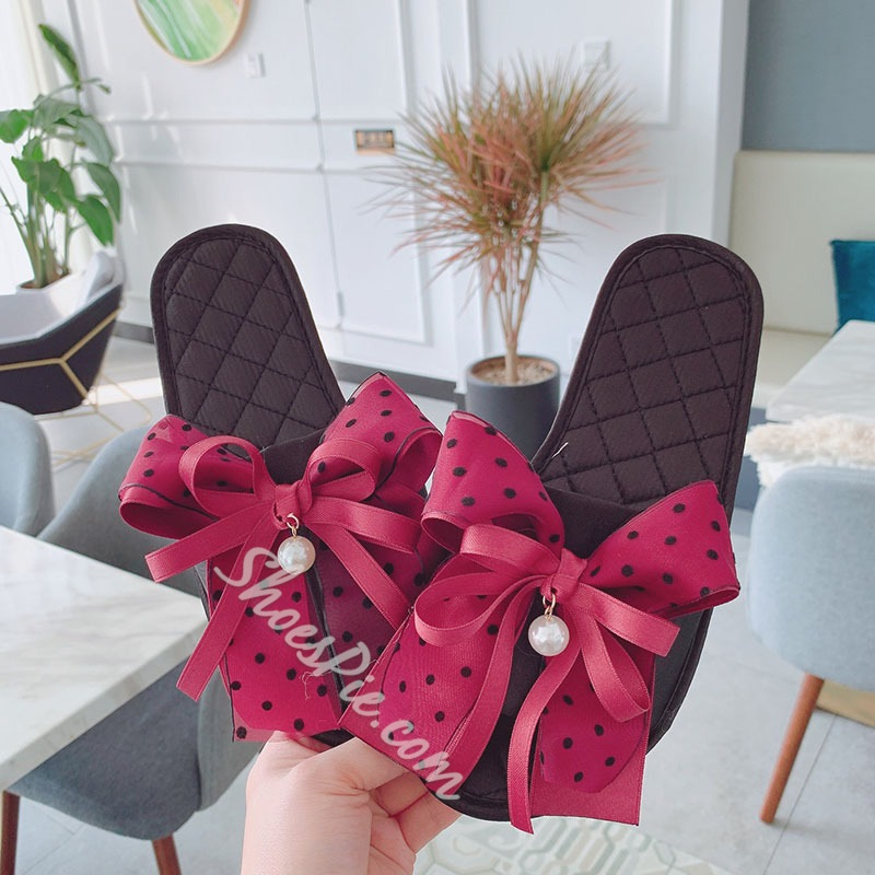Shoespie Stylish Slip-On Flip Flop Bow Cowhells Slippers