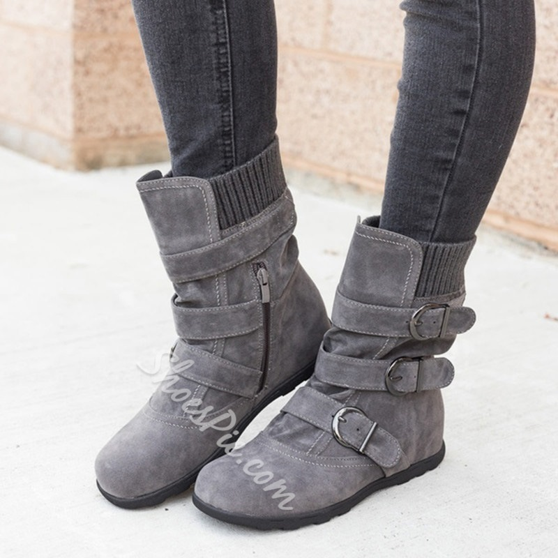 Shoespie Sexy Side Zipper Plain Round Toe Buckle Boots