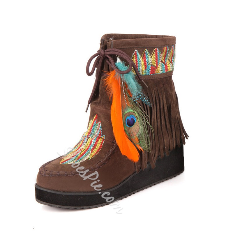 Shoespie Stylish Round Toe Color Block Lace-Up Front Casual Boots