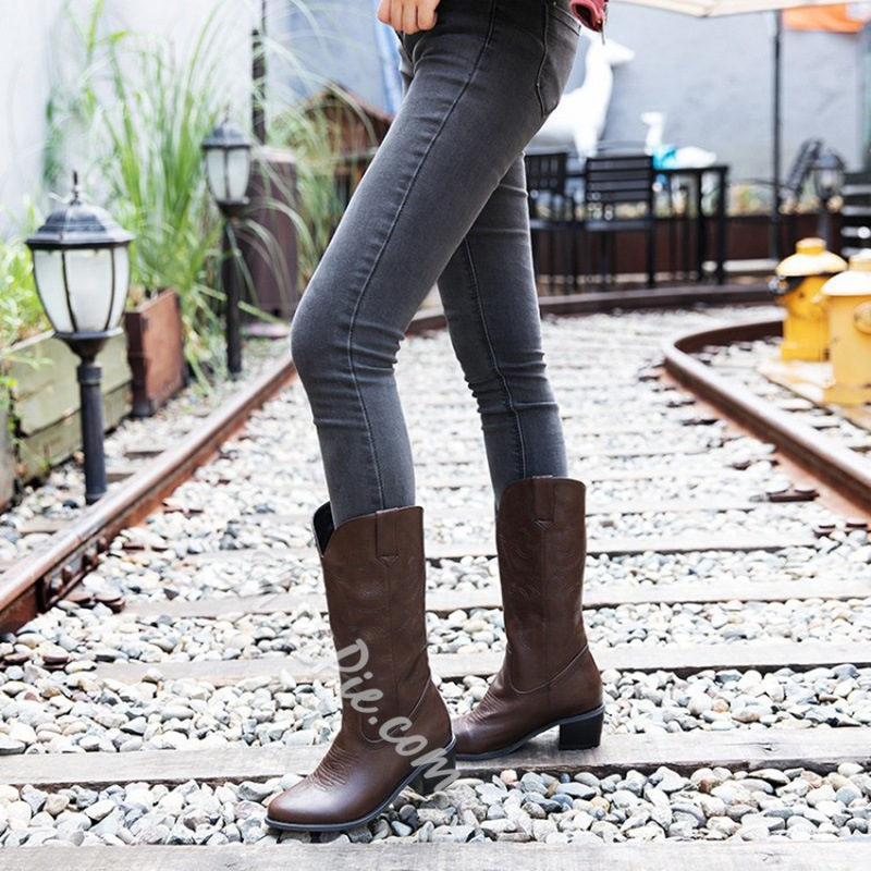 Shoespie Pointed Toe Slip-On Plain Western Boots