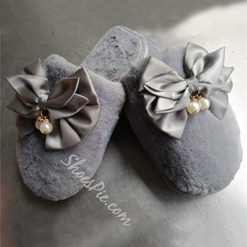 Shoespie Trendy Bow Closed Toe Slip-On Spring Slippers