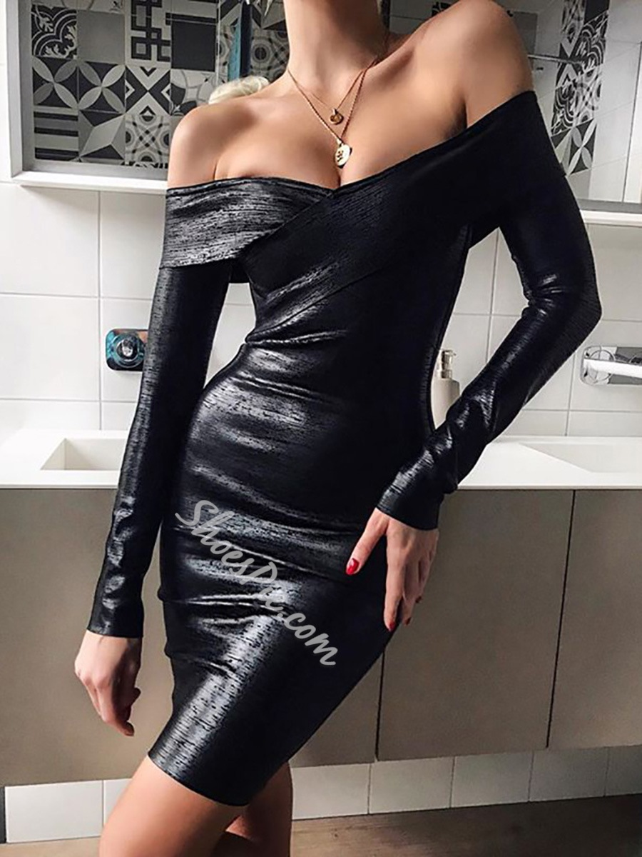 Long Sleeve Off Shoulder Above Knee Regular Women's Dress