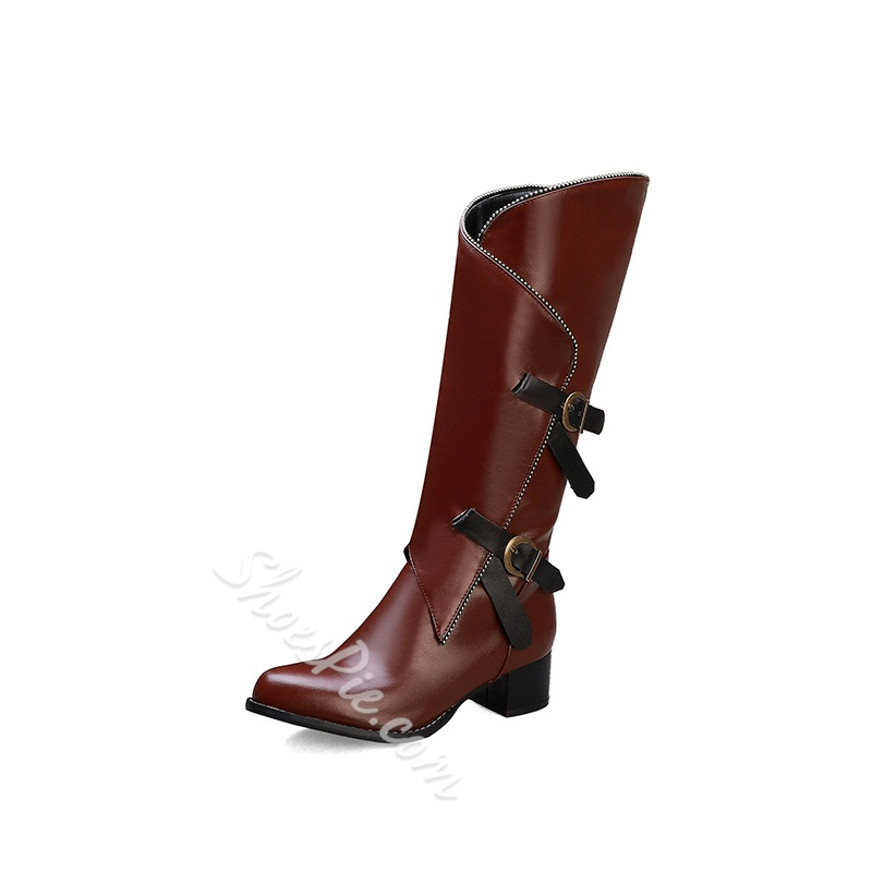 Shoespie Sexy Side Zipper Color Block Pointed Toe Western Boots