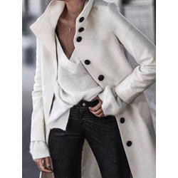 Single-Breasted Loose Mid-Length Plain Women's Overcoat