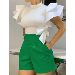 Stand Collar Plain Ruffle Sleeve Short Sleeve Women's Blouse